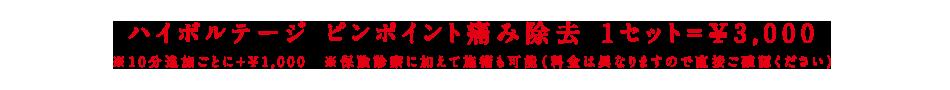 ハイボルテージ ピンポイント痛み除去 1症状10分~=¥1,000 | 東京 目黒 整骨院